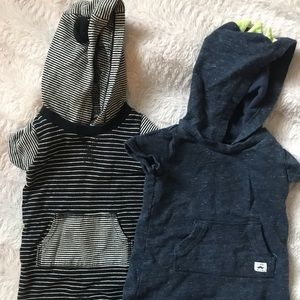 Two hooded boy short rompers - 6m